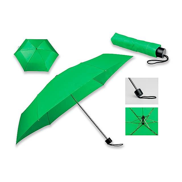 SEAGULL - polyesterový skládací manuální deštník, 6 panelů - zelená