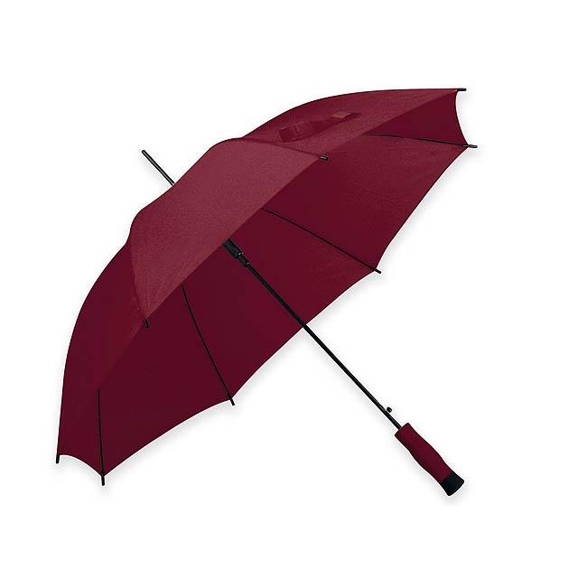 DARNEL - Polyesterový deštník s automatickým otvíráním a pěnovou rukojetí, 8 panelů.       - vínová