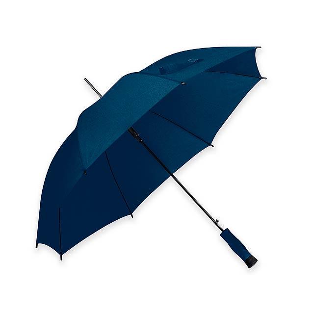 DARNEL - Polyesterový deštník s automatickým otvíráním a pěnovou rukojetí, 8 panelů.       - modrá