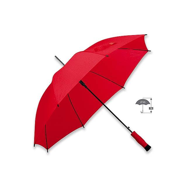 DARNEL - polyesterový vystřelovací deštník, 8 panelů - červená