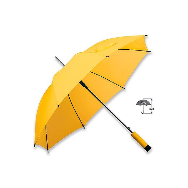 polyesterový vystřelovací deštník, 8 panelů - žlutá - foto