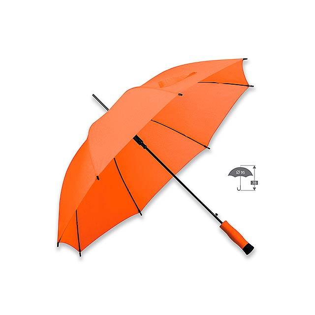 DARNEL polyesterový vystřelovací deštník, 8 panelů, Oranžová - oranžová