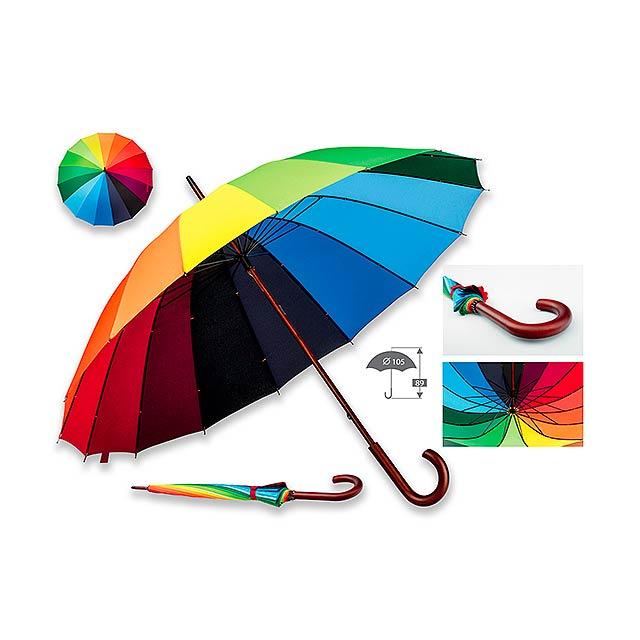Polyesterový deštník s manuálním otvíráním a dřevěnou rukojetí, 16 panelů. - multicolor - foto