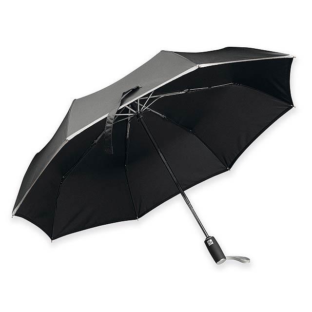 UMA - Skládací polyesterový deštník se systémem open/close, reflexním lemem, plastovou rukojetí a obalem, 8 panelů.   - černá