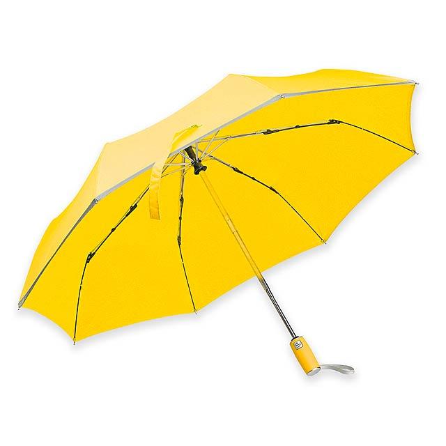 UMA - Skládací polyesterový deštník se systémem open/close, reflexním lemem, plastovou rukojetí a obalem, 8 panelů.   - žlutá