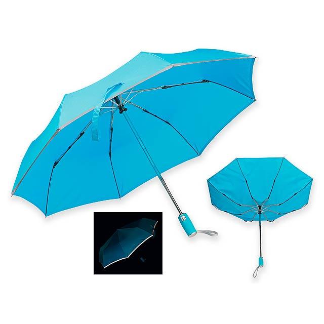 UMA - Skládací polyesterový deštník se systémem open/close, reflexním lemem, plastovou rukojetí a obalem, 8 panelů.   - nebesky modrá