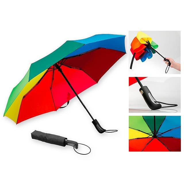 MEDLEY polyesterový skládací deštník, open/close, 8 panelů, Vícebarevná - multicolor