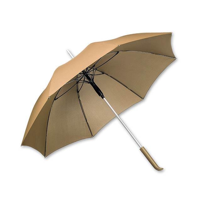Polyesterový deštník s automatickým otvíráním, obalem a plastovou rukojetí, 8 panelů. - zlatá - foto