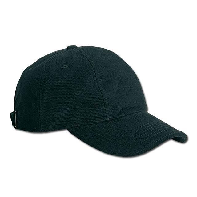 RADO - bavlněná baseballová čepice, kovová spona, 6 panelů - černá