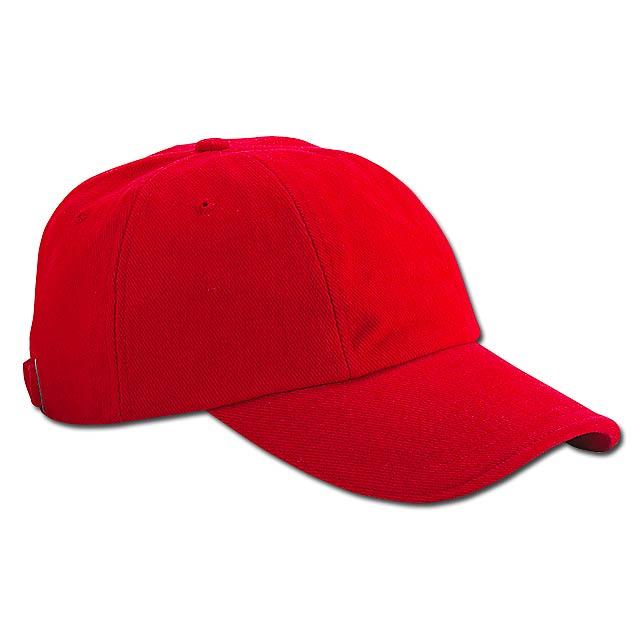 bavlněná baseballová čepice, kovová spona, 6 panelů - červená - foto