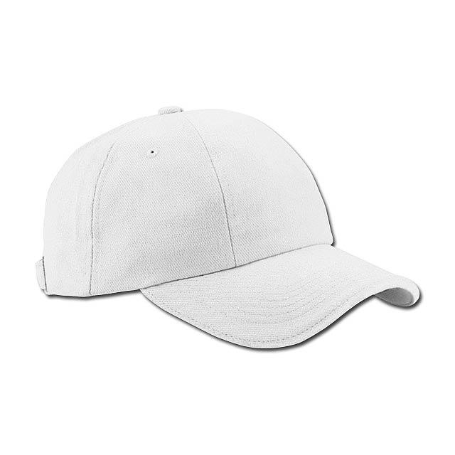 RADO - bavlněná baseballová čepice, kovová spona, 6 panelů - bílá