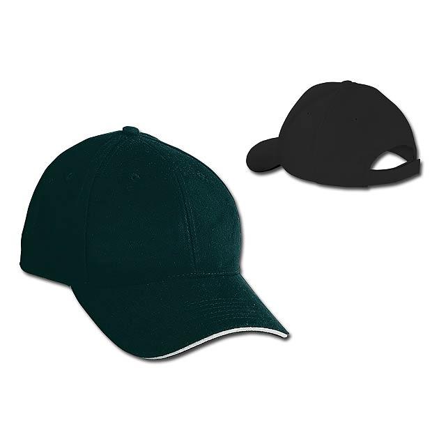 HEAVY - bavlněná baseballová čepice, suchý zip, 6 panelů - černá