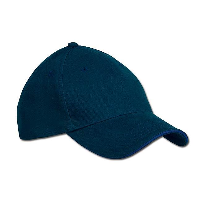 bavlněná baseballová čepice, suchý zip, 6 panelů - modrá - foto