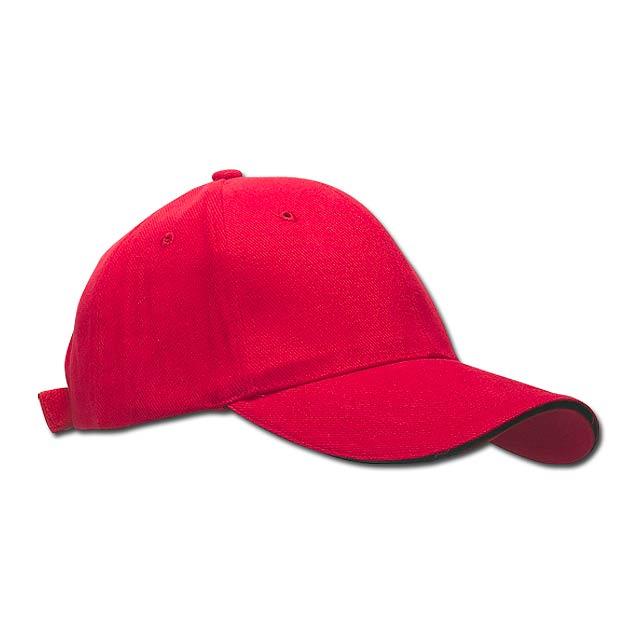 HEAVY - bavlněná baseballová čepice, suchý zip, 6 panelů - červená