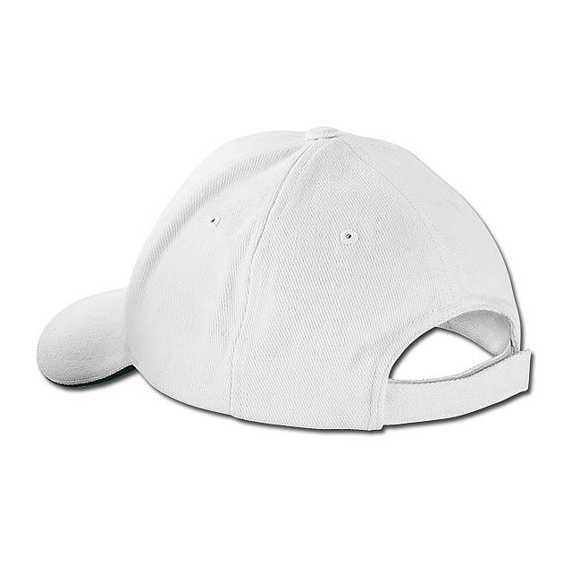 HEAVY - bavlněná baseballová čepice, suchý zip, 6 panelů - bílá