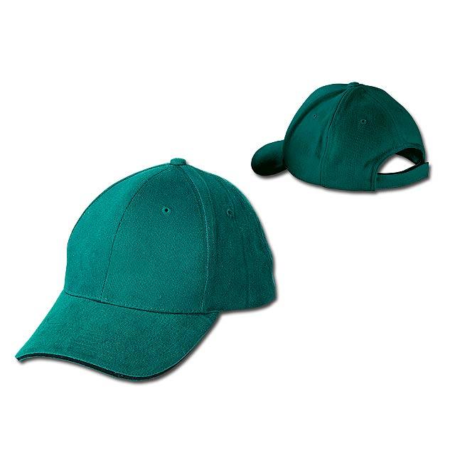 HEAVY - bavlněná baseballová čepice, suchý zip, 6 panelů - zelená
