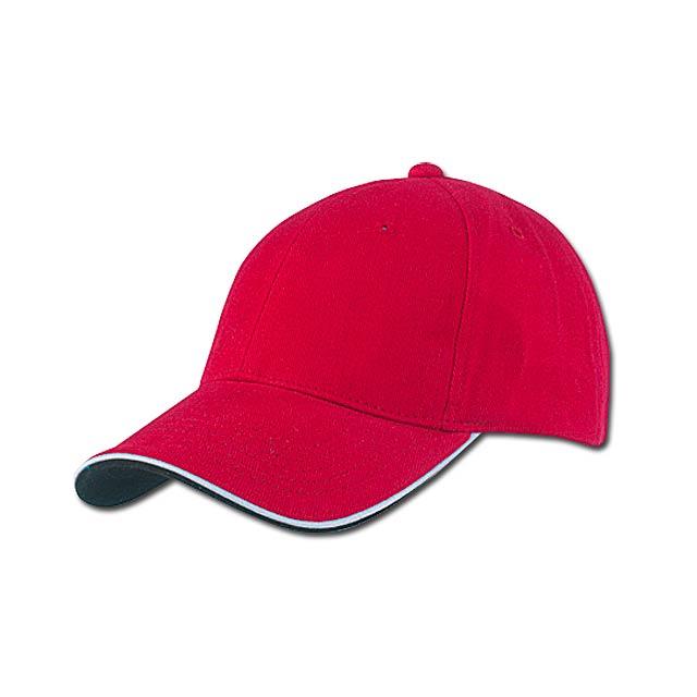 PIPING - baseballová čepice, COFEE - červená