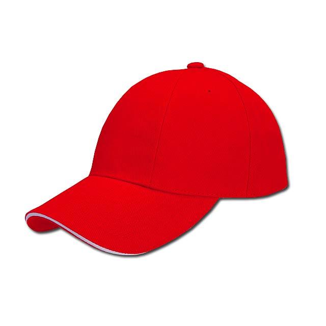 TURNED SANDWICH - baseballová čepice, COFEE - červená
