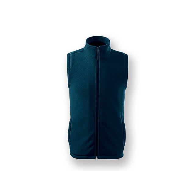 NEXT - Unisex fleecová celopropínací vesta se dvěma kapsami, 100 % PES, 280 g/m2.     - modrá