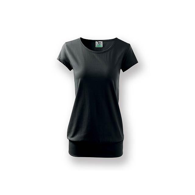 CITY - Dámské tričko s velmi krátkým rukávem,           - černá