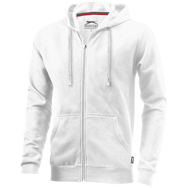 Mikina Open s kapucí, zip v celé délce - bílá