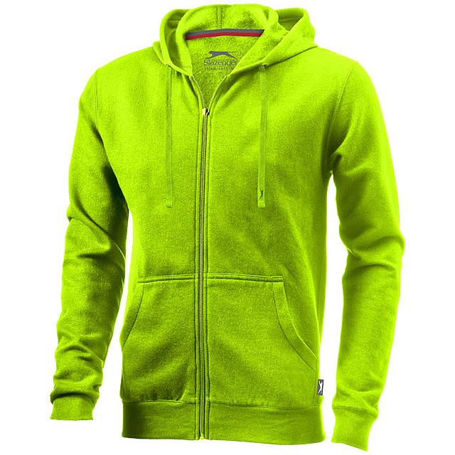 Mikina Open s kapucí, zip v celé délce - zelená