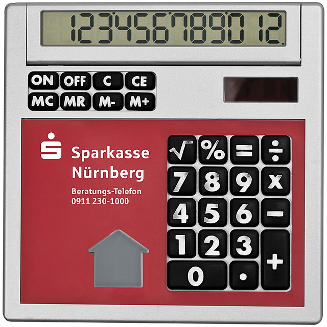 Own design calculator with insert - red