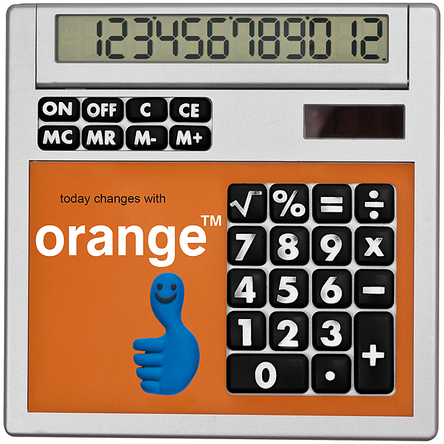 Own design calculator with insert - orange