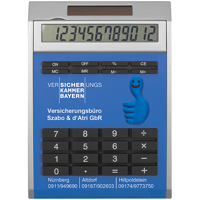 Own design calculator with insert, small - blue