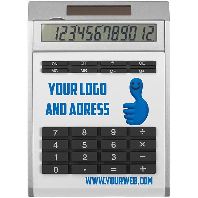 Malá kalkulačka svložkami - biela