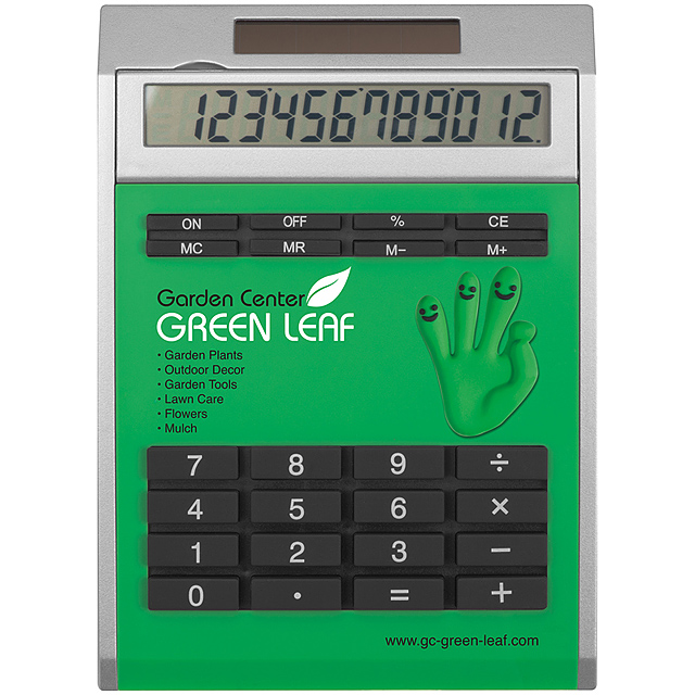 Own design calculator with insert, small - green