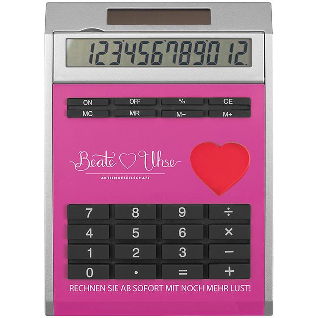 Malá kalkulačka svložkami - ružová