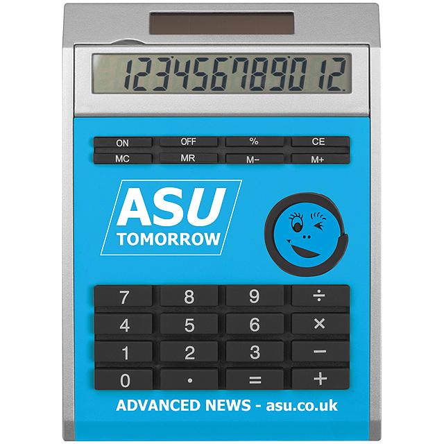 Malá kalkulačka svložkami - nebesky modrá
