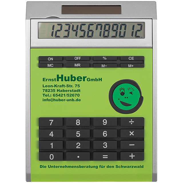 Own design calculator with insert, small - lime