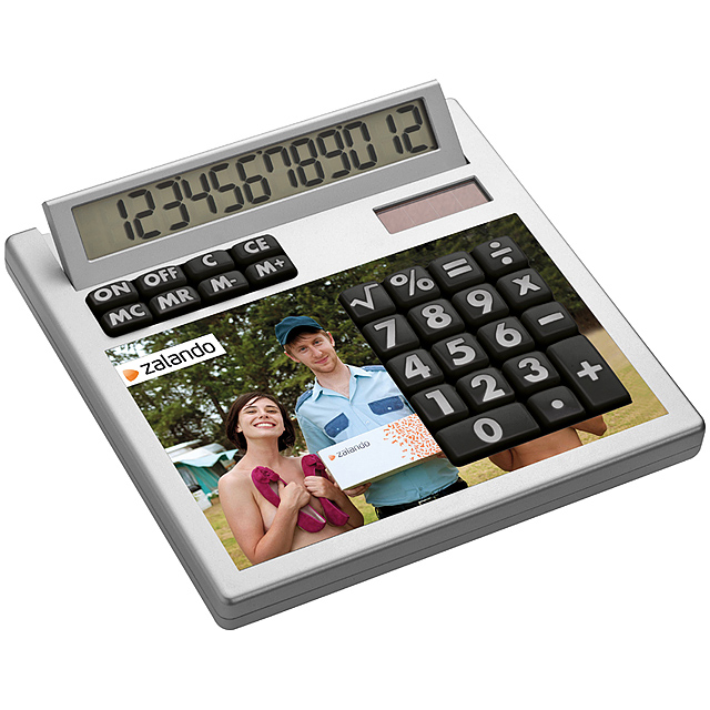 Own-design desk calculator with insert without holes - white