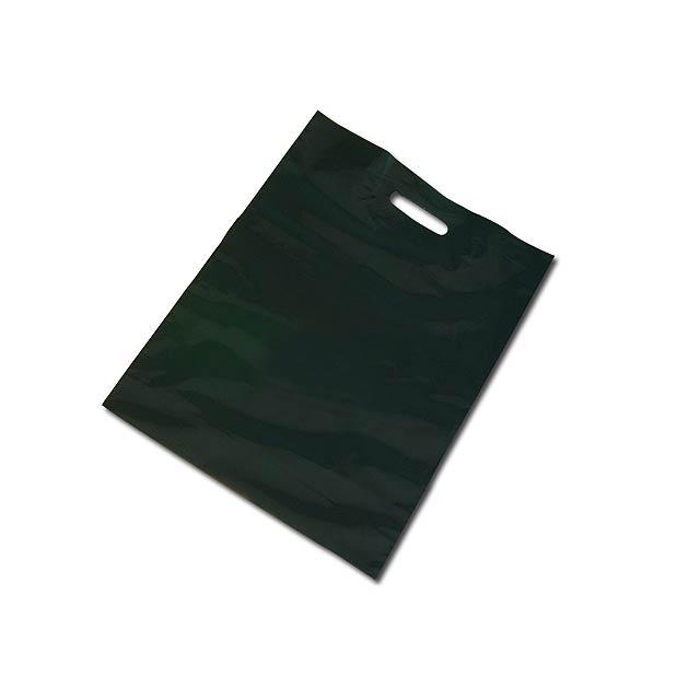 PE BAG - Plastic bag, foldable bottom (10 cm bottom width after unfolding). - black