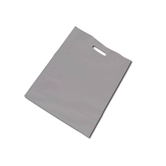 PE BAG - Plastic bag, foldable bottom (10 cm bottom width after unfolding). - silver