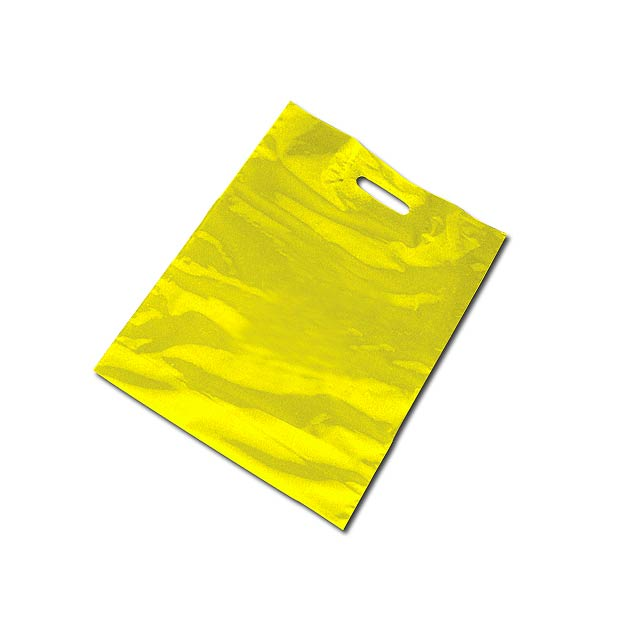 PE BAG - Plastic bag, foldable bottom (10 cm bottom width after unfolding). - yellow