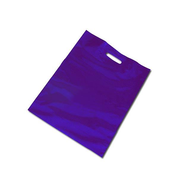 PE BAG - Plastic bag, foldable bottom (10 cm bottom width after unfolding). - blue