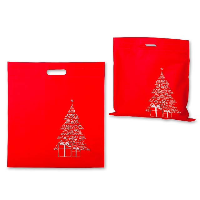 DAIA CHRISTMAS - Non-woven textile bag with Christmas motif, 70 gm2. - red
