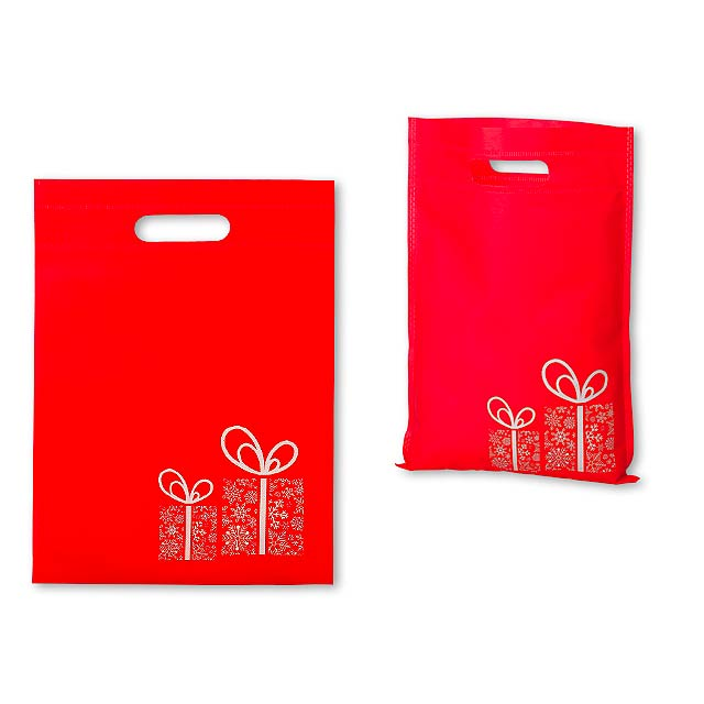 NERVA CHRISTMAS - Non-woven textile bag with Christmas motif, 70 gm2. - red