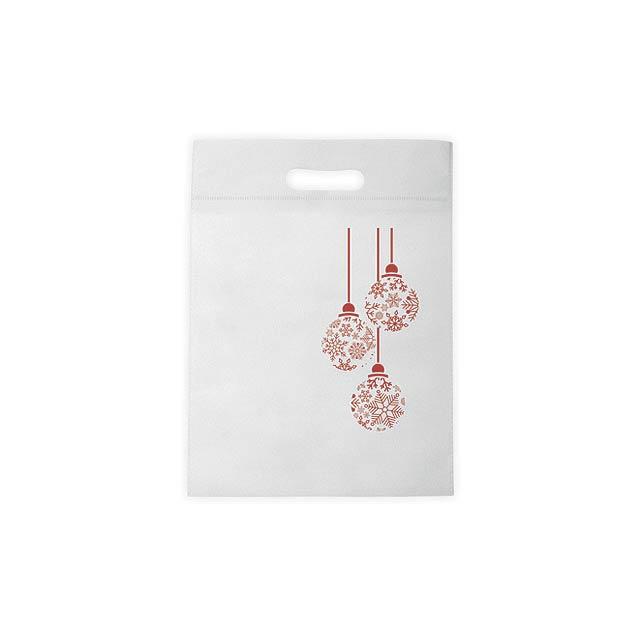 NERVA CHRISTMAS nákupní taška z netkané textílie s potiskem, Bílá - biela