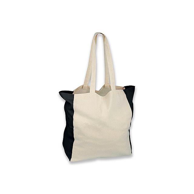 LIKO - bavlněná nákupní taška přes rameno, 110 g/m2 - černá