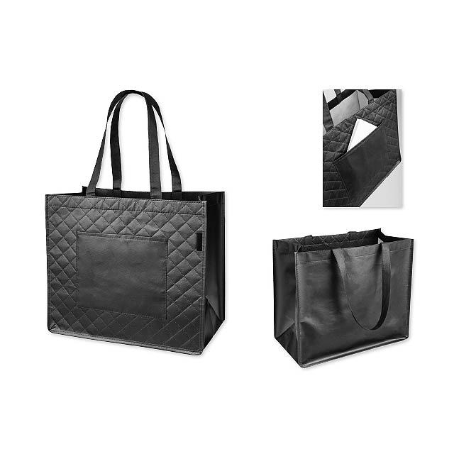 ARLETA - Textilní polaminovaná nákupní taška, 130 g/m2.           - černá