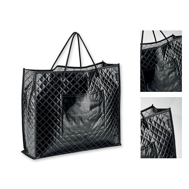 KARISSA - Textilní polaminovaná nákupní taška, 150 g/m2.           - černá