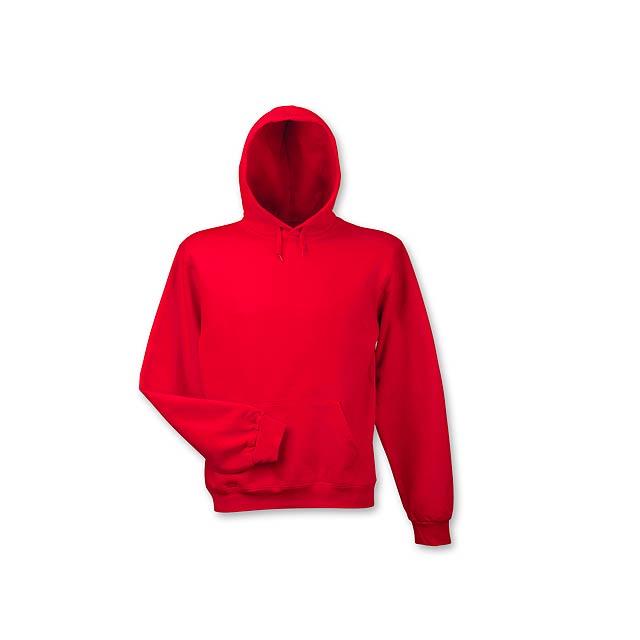 HOOD - mikina s kapucí, 280 g/m2, vel. L, B & C - červená