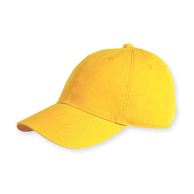 HEDER - bavlněná baseballová čepice, plastová spona, 6 panelů - žlutá