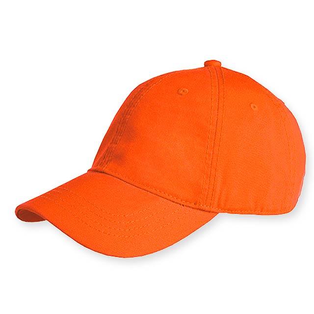HEDER bavlněná baseballová čepice, plastová spona, 6 panelů, Oranžová - oranžová