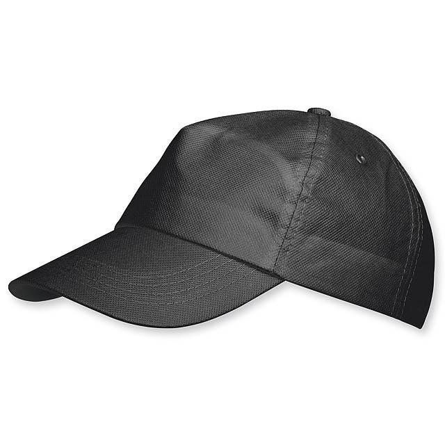 POMPO - baseballová čepice z netkané text. (75 g/m2), suchý zip, 5 panelů - černá