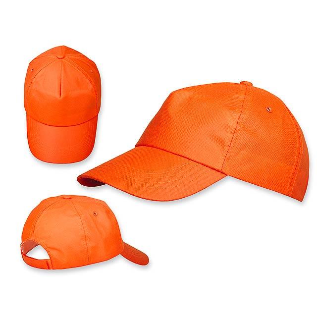 POMPO baseballová čepice z netkané text. (75 g/m2), suchý zip, 5 panelů, Oranžová - oranžová
